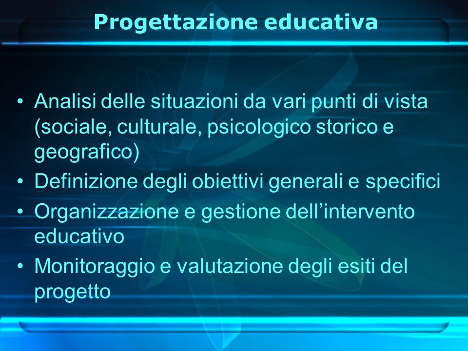 Analisi delle situazioni da vari punti di vista (sociale, culturale, psicologico storico e geografico) Definizione degli obiettivi generali e specifici Organizzazione e gestione dellintervento educativo Monitoraggio e valutazione degli esiti del progetto Progettazione educativa