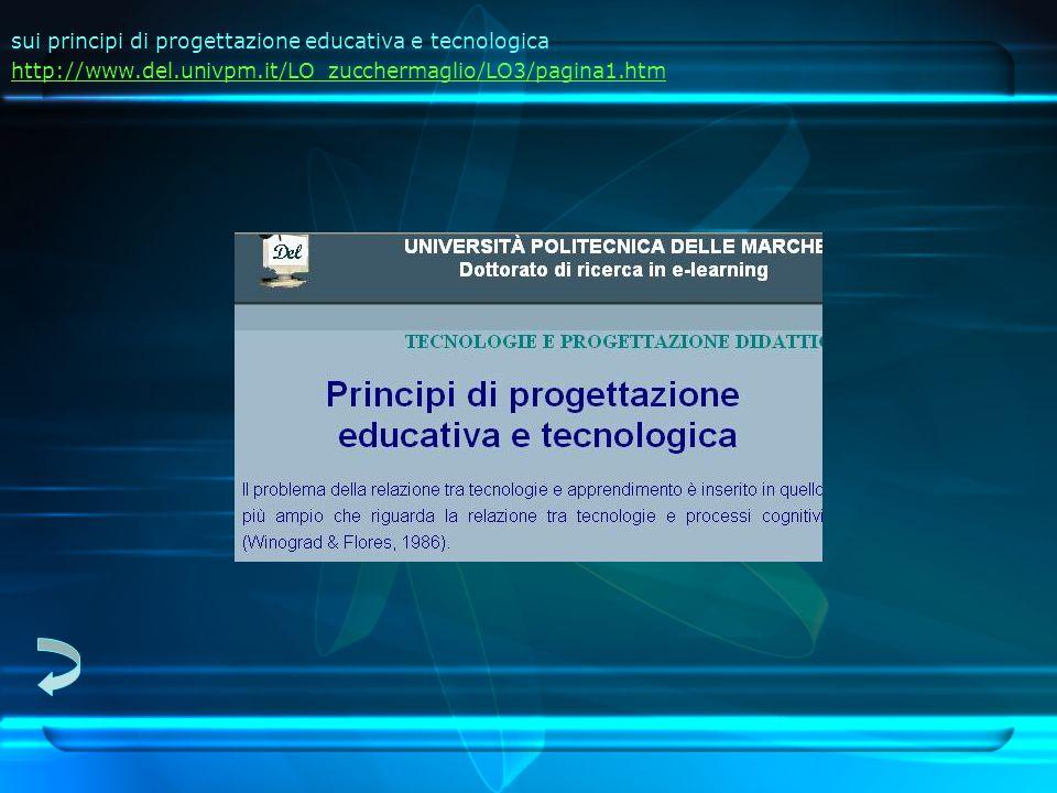 sui principi di progettazione educativa e tecnologica http://www.del.univpm.it/LO_zucchermaglio/LO3/pagina1.htm http://www.del.univpm.it/LO_zucchermaglio/LO3/pagina1.htm