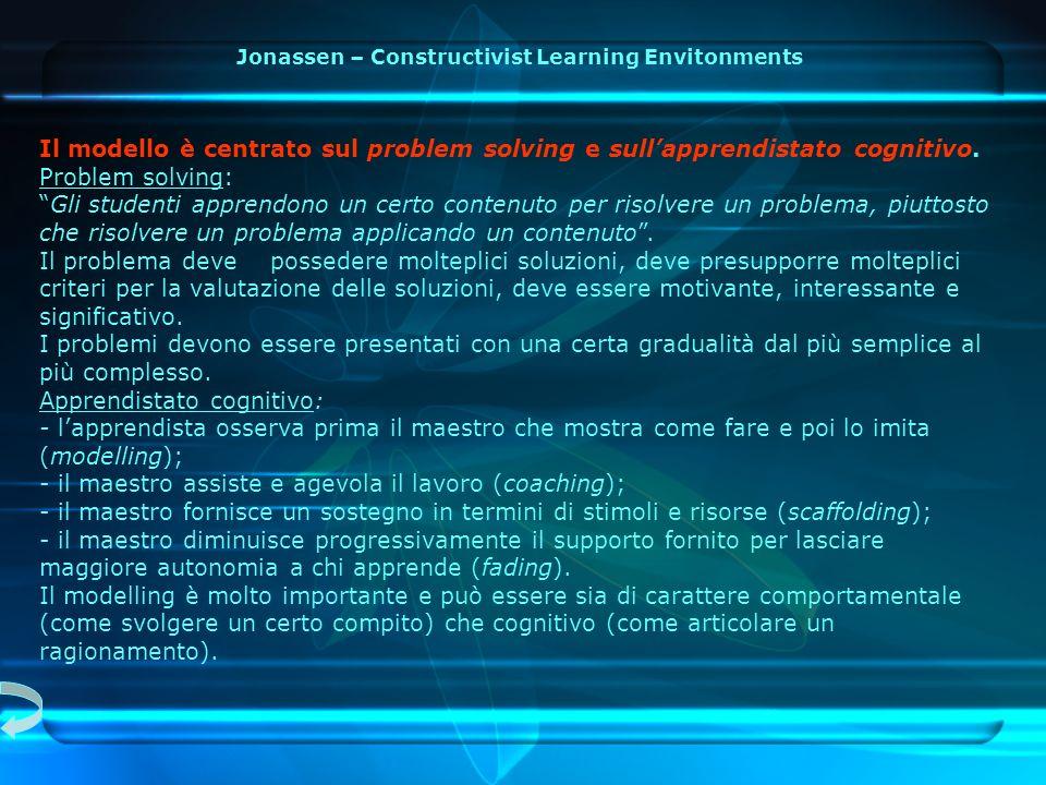 Il modello è centrato sul problem solving e sullapprendistato cognitivo.