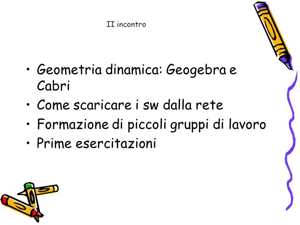 II incontro Geometria dinamica: Geogebra e Cabri Come scaricare i sw dalla rete Formazione di piccoli gruppi di lavoro Prime esercitazioni