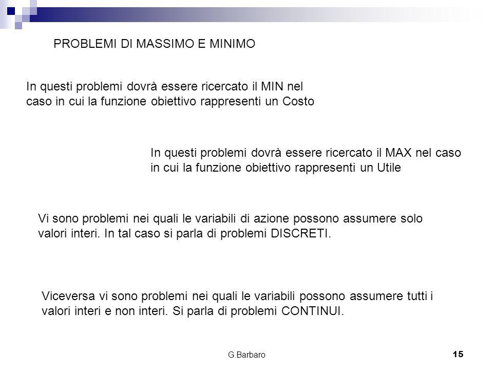 G.Barbaro15 PROBLEMI DI MASSIMO E MINIMO In questi problemi dovrà essere ricercato il MIN nel caso in cui la funzione obiettivo rappresenti un Costo I