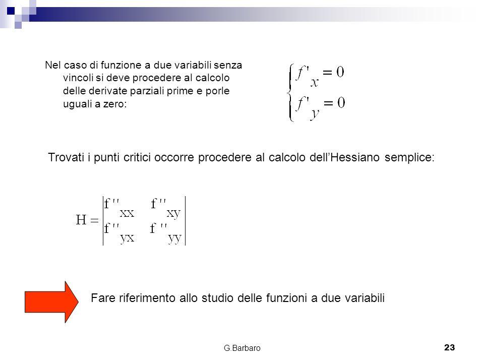 G.Barbaro23 Nel caso di funzione a due variabili senza vincoli si deve procedere al calcolo delle derivate parziali prime e porle uguali a zero: Trova