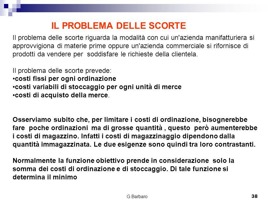 G.Barbaro38 Il problema delle scorte riguarda la modalità con cui un'azienda manifatturiera si approvvigiona di materie prime oppure un'azienda commer