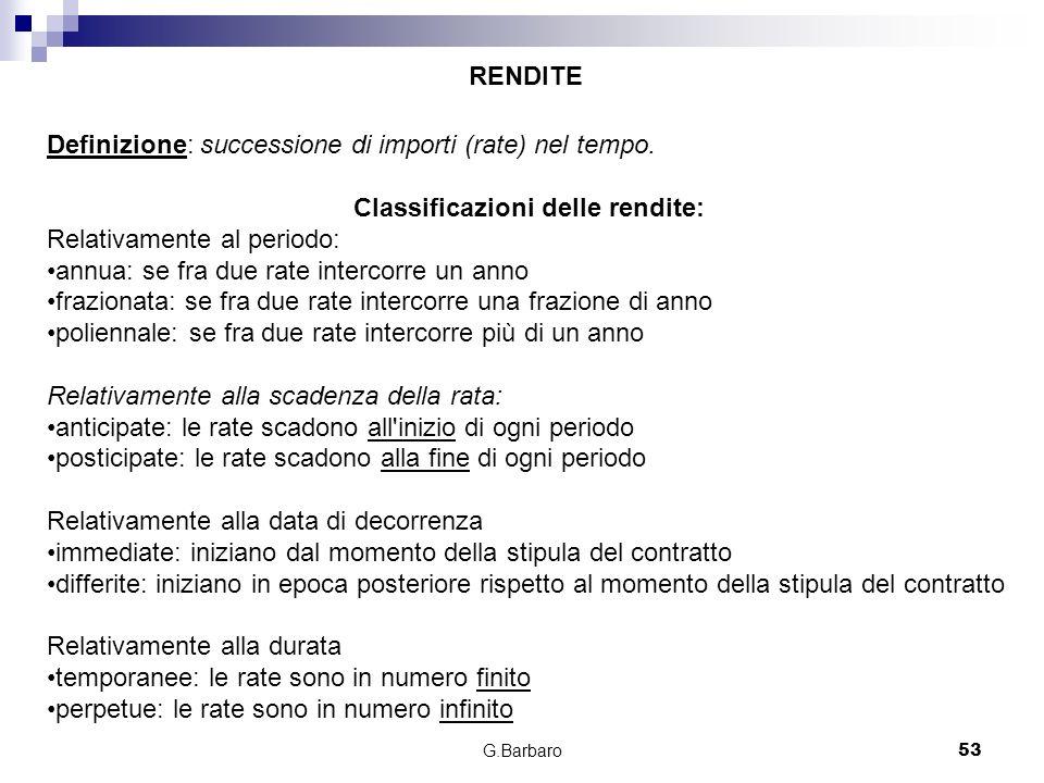 G.Barbaro53 Definizione: successione di importi (rate) nel tempo. Classificazioni delle rendite: Relativamente al periodo: annua: se fra due rate inte