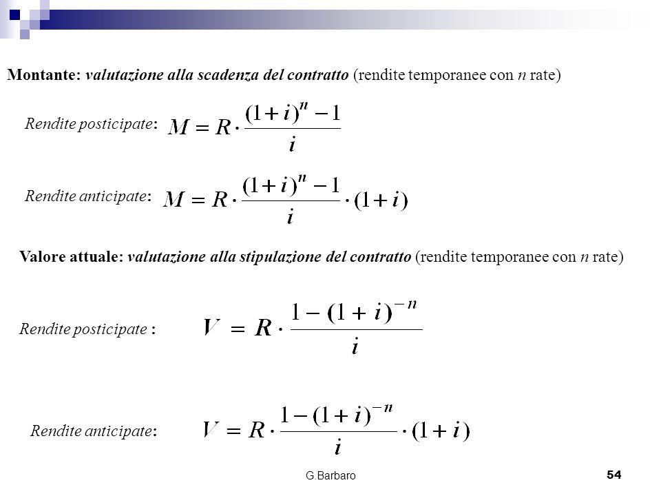 G.Barbaro54 Montante: valutazione alla scadenza del contratto (rendite temporanee con n rate) Rendite posticipate: Rendite anticipate: Valore attuale:
