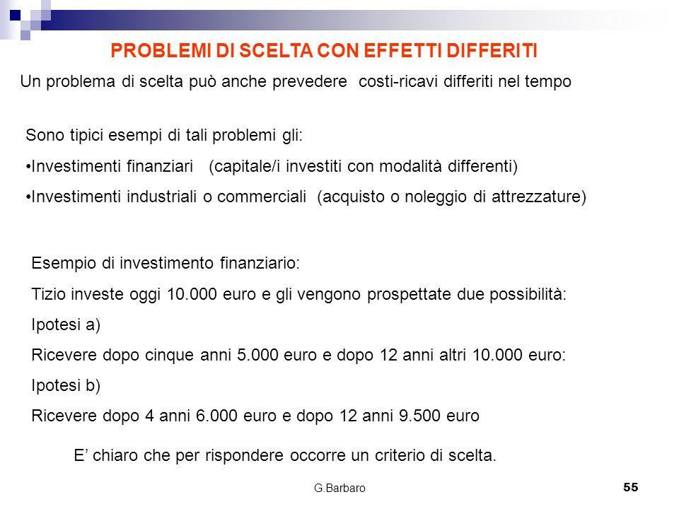 G.Barbaro55 PROBLEMI DI SCELTA CON EFFETTI DIFFERITI Un problema di scelta può anche prevedere costi-ricavi differiti nel tempo Sono tipici esempi di