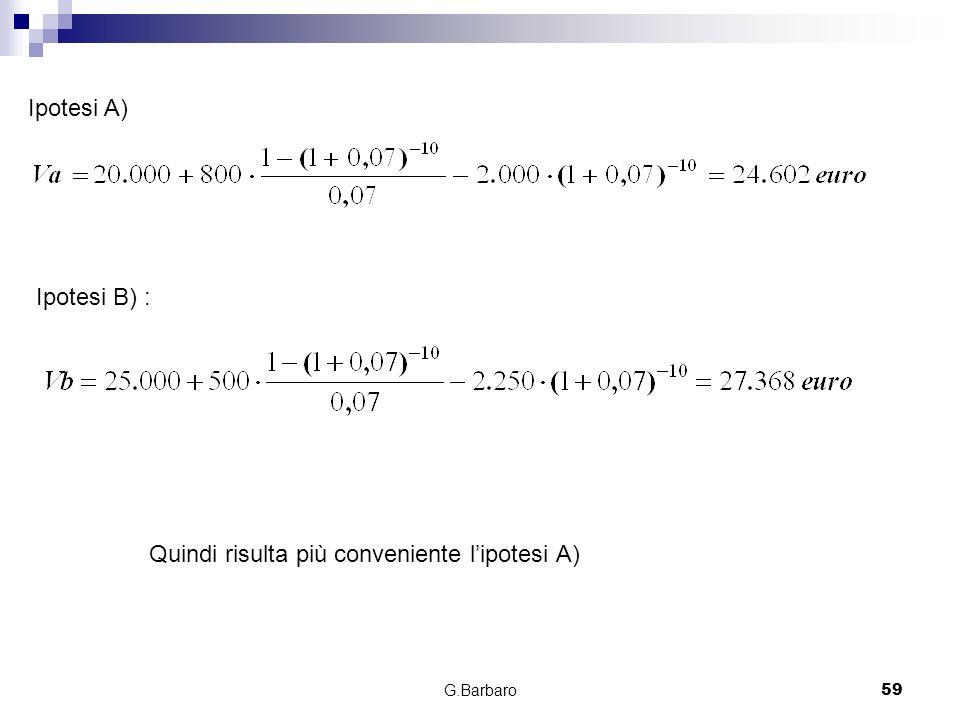 G.Barbaro59 Ipotesi A) Ipotesi B) : Quindi risulta più conveniente lipotesi A)
