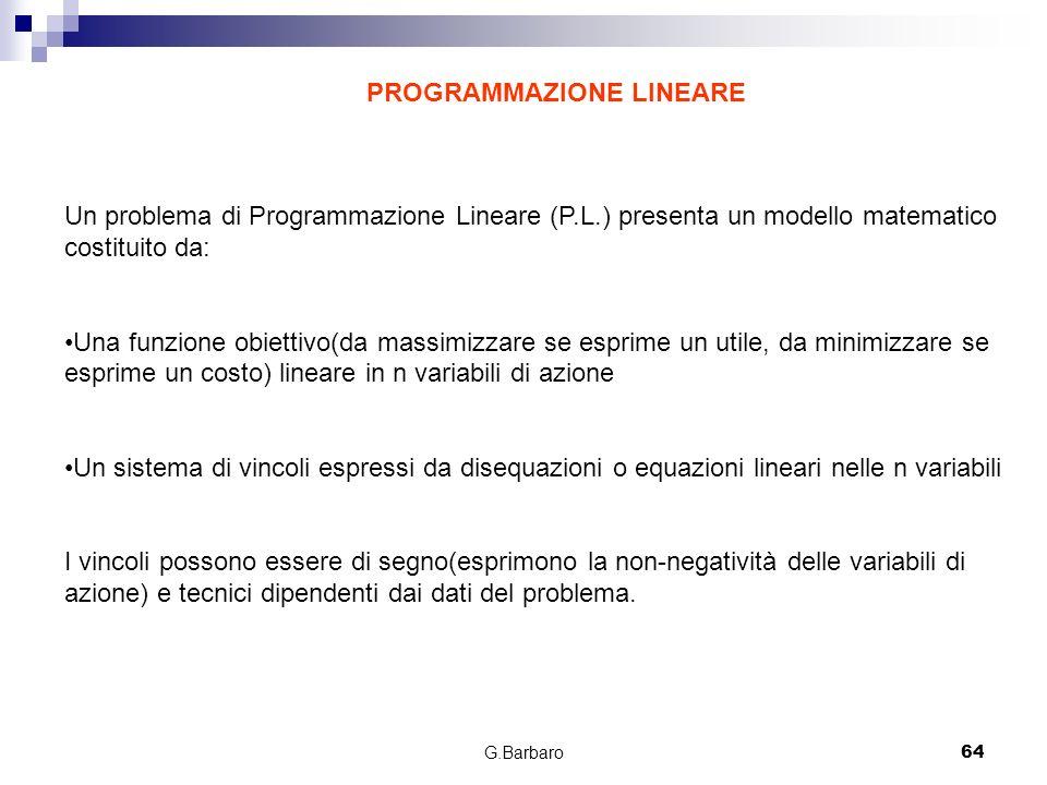 G.Barbaro64 PROGRAMMAZIONE LINEARE Un problema di Programmazione Lineare (P.L.) presenta un modello matematico costituito da: Una funzione obiettivo(d