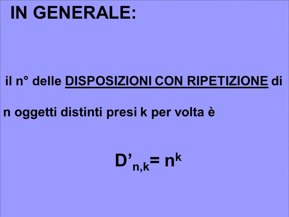 IN GENERALE: il n° delle DISPOSIZIONI CON RIPETIZIONE di n oggetti distinti presi k per volta è D n,k = n k