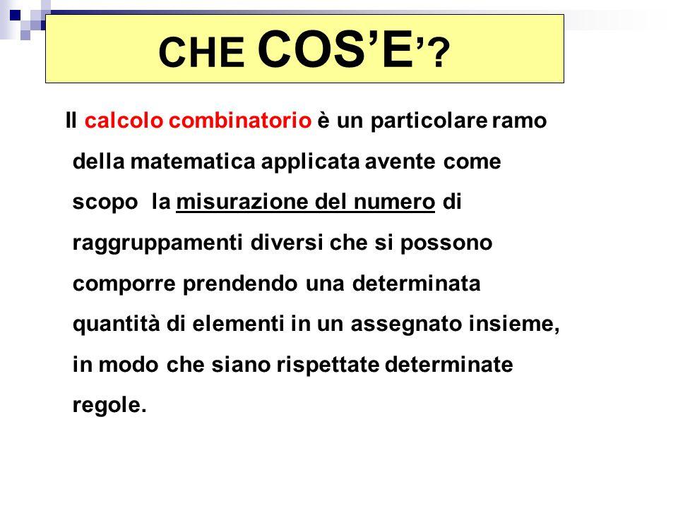 Il calcolo combinatorio è un particolare ramo della matematica applicata avente come scopo la misurazione del numero di raggruppamenti diversi che si