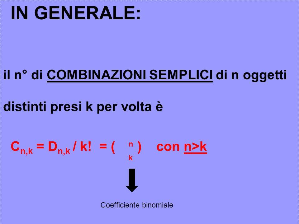IN GENERALE: il n° di COMBINAZIONI SEMPLICI di n oggetti distinti presi k per volta è C n,k = D n,k / k! = ( ) con n>k n k Coefficiente binomiale