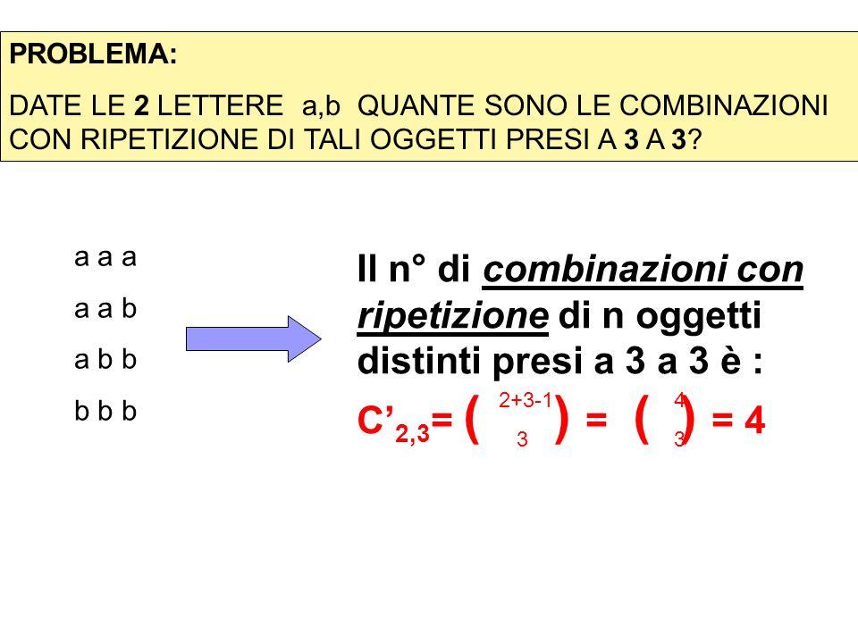 PROBLEMA: DATE LE 2 LETTERE a,b QUANTE SONO LE COMBINAZIONI CON RIPETIZIONE DI TALI OGGETTI PRESI A 3 A 3? Il n° di combinazioni con ripetizione di n