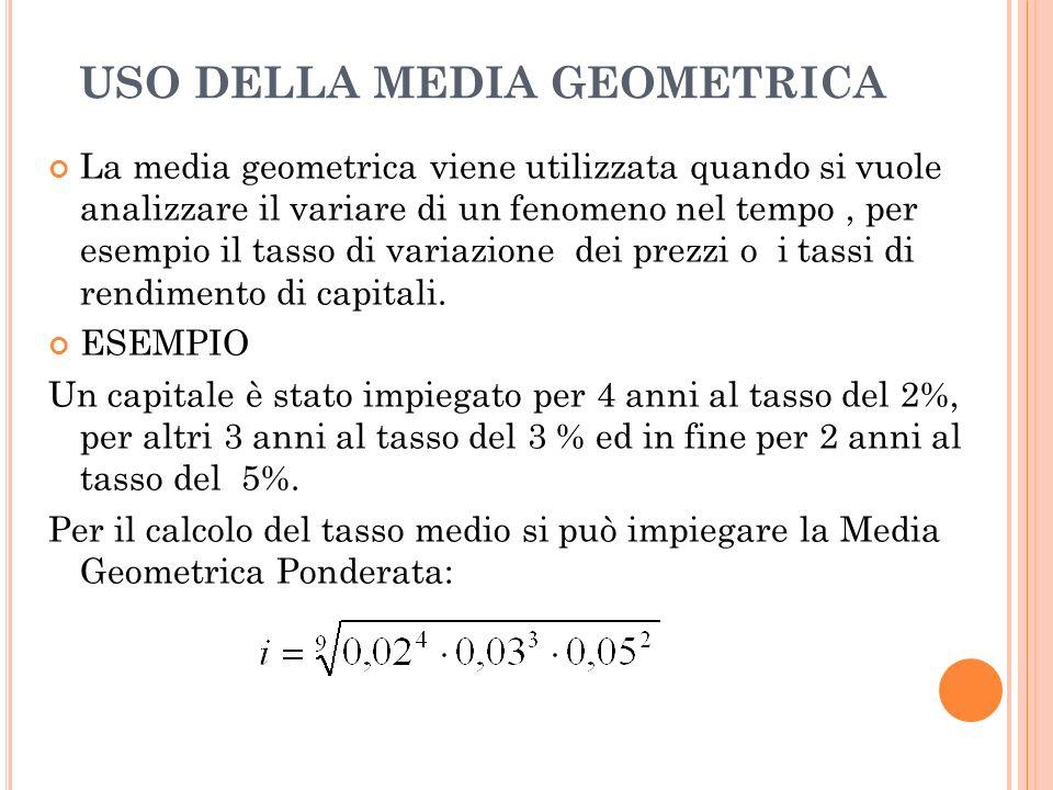 MEDIA GEOMETRICA Se i valori sono tutti positivi e non nulli si può calcolare la media geometrica. Si definisce media geometrica dei valori x1, x2, …,