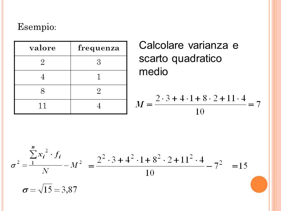 OSSERVAZIONI La varianza 2 e lo scarto quadratico medio danno informazioni sulla distribuzione dei dati: più sono piccoli più i dati sono concentrati;