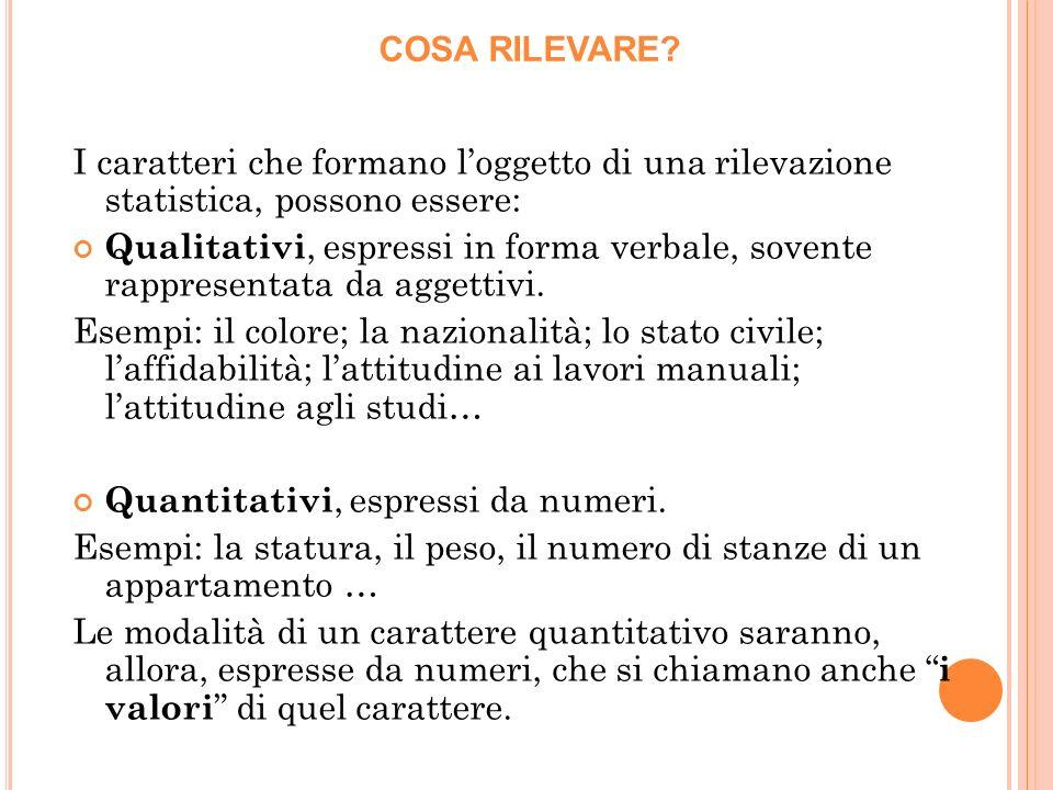 I caratteri che formano loggetto di una rilevazione statistica, possono essere: Qualitativi, espressi in forma verbale, sovente rappresentata da aggettivi.