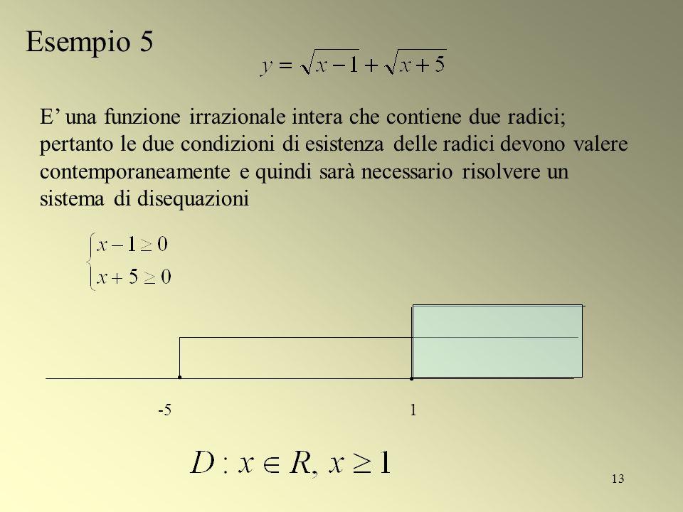 13 Esempio 5 -51 E una funzione irrazionale intera che contiene due radici; pertanto le due condizioni di esistenza delle radici devono valere contemp