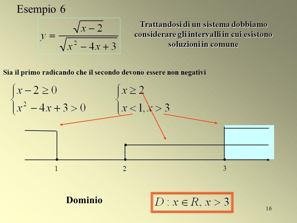 16 Sia il primo radicando che il secondo devono essere non negativi 12 3 Trattandosi di un sistema dobbiamo considerare gli intervalli in cui esistono