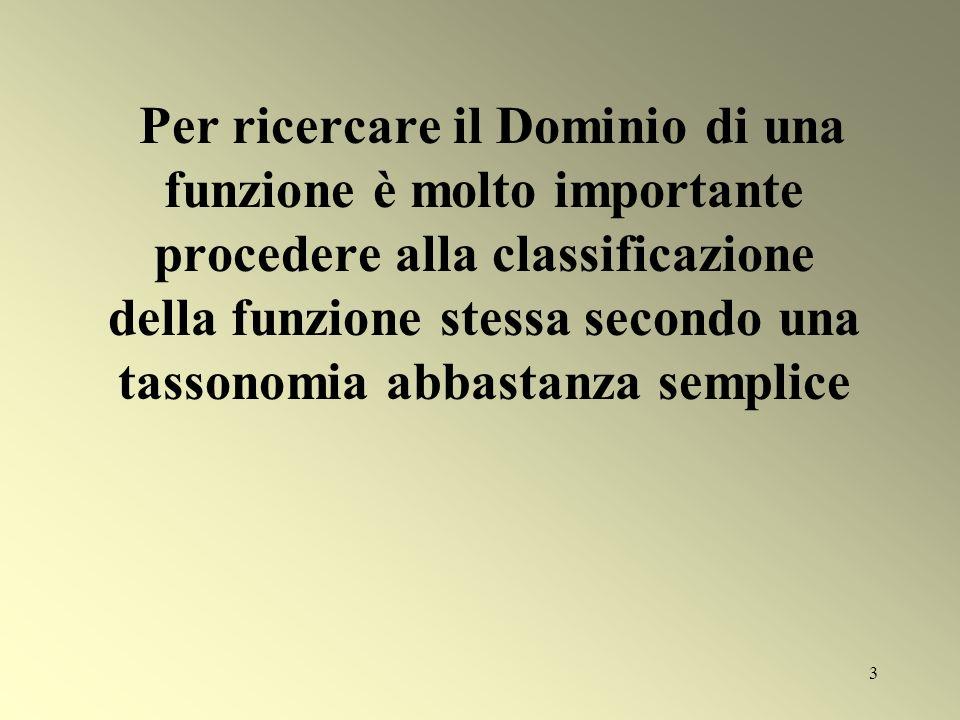 3 Per ricercare il Dominio di una funzione è molto importante procedere alla classificazione della funzione stessa secondo una tassonomia abbastanza s