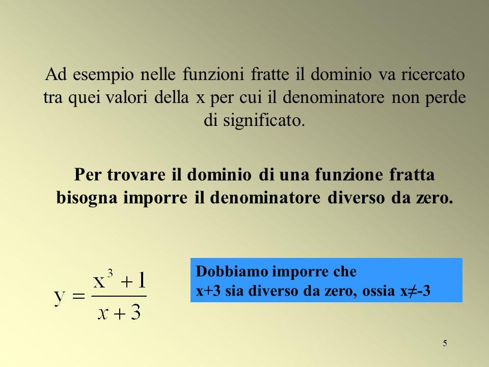 5 Ad esempio nelle funzioni fratte il dominio va ricercato tra quei valori della x per cui il denominatore non perde di significato. Per trovare il do
