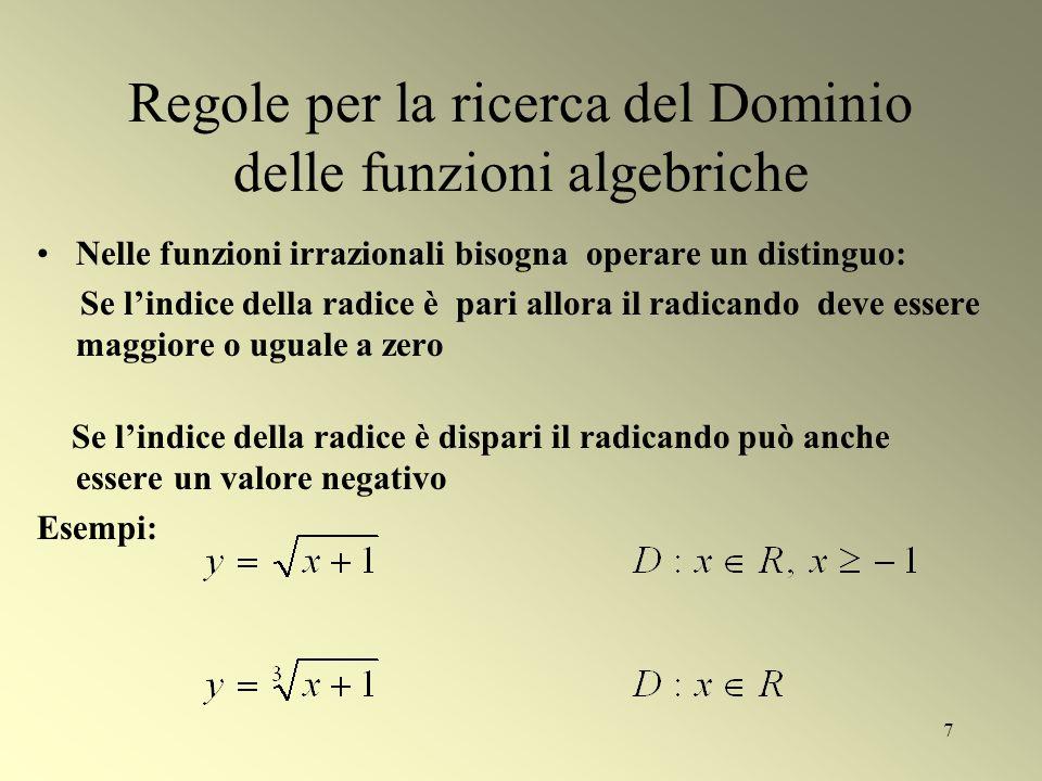 7 Regole per la ricerca del Dominio delle funzioni algebriche Nelle funzioni irrazionali bisogna operare un distinguo: Se lindice della radice è pari