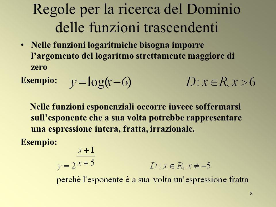 8 Regole per la ricerca del Dominio delle funzioni trascendenti Nelle funzioni logaritmiche bisogna imporre largomento del logaritmo strettamente magg