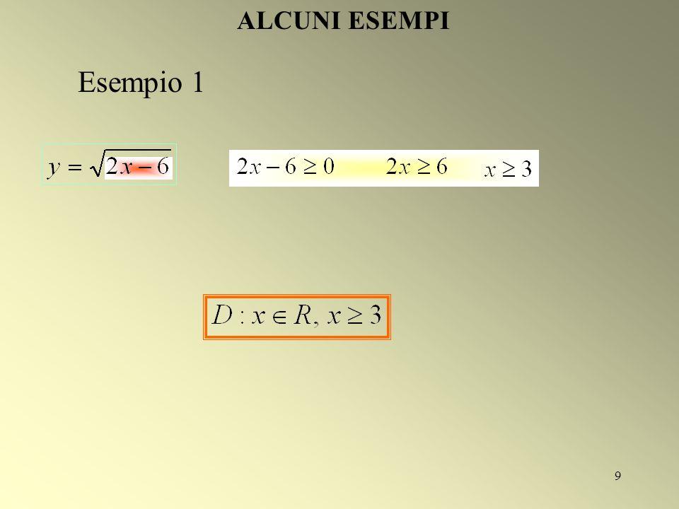9 ALCUNI ESEMPI Esempio 1