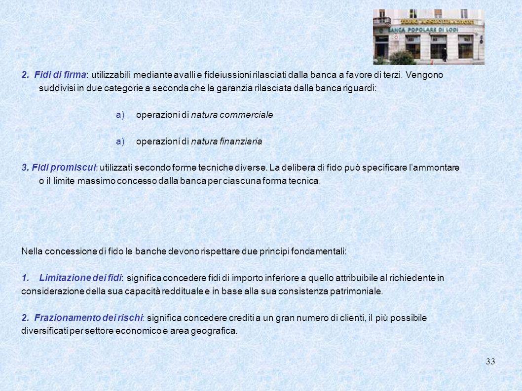 2. Fidi di firma: utilizzabili mediante avalli e fideiussioni rilasciati dalla banca a favore di terzi. Vengono suddivisi in due categorie a seconda c