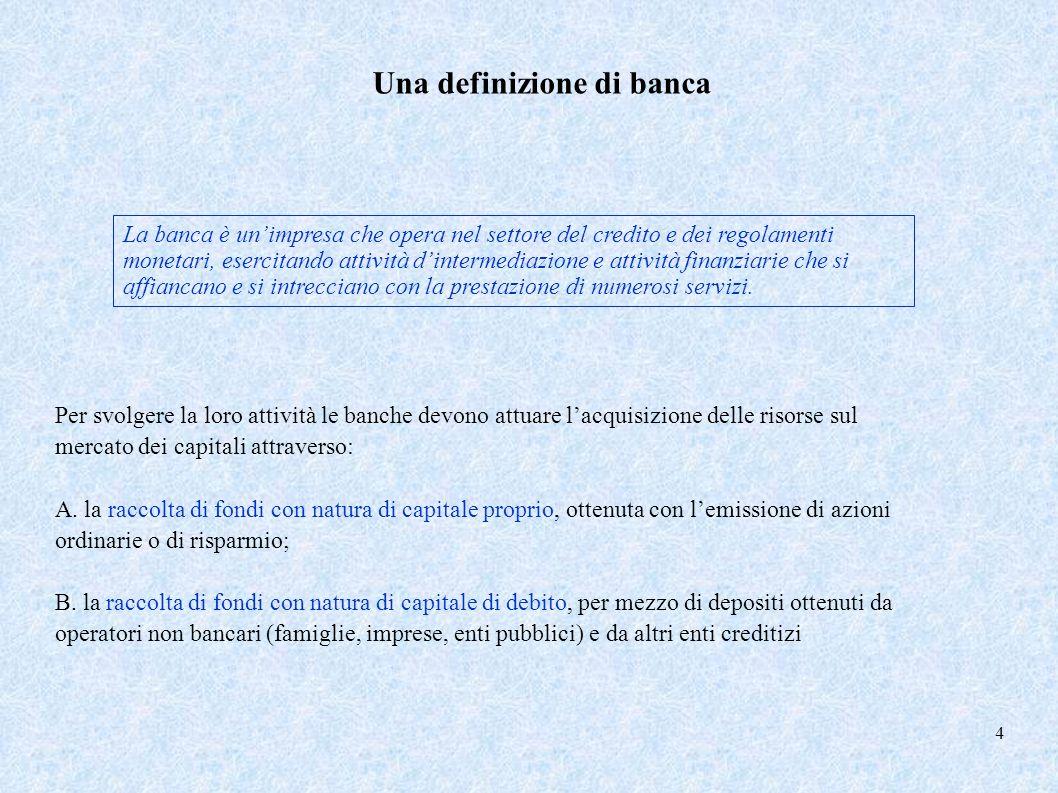 Una definizione di banca La banca è unimpresa che opera nel settore del credito e dei regolamenti monetari, esercitando attività dintermediazione e at