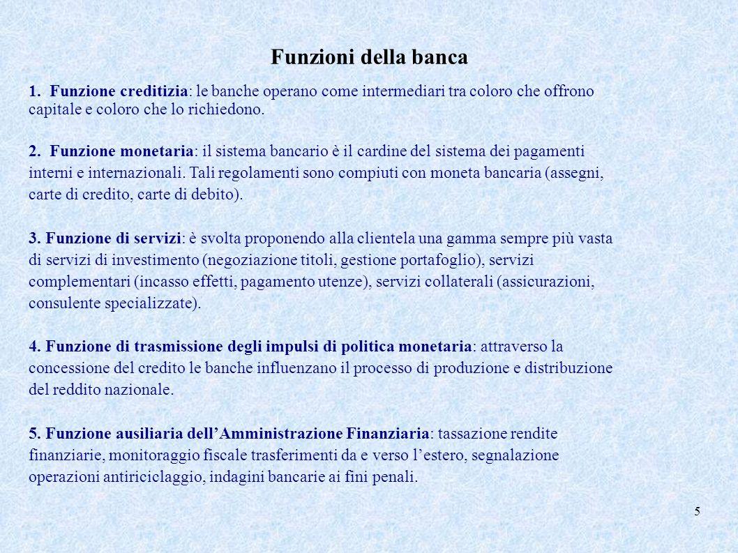 Funzioni della banca 1. Funzione creditizia: le banche operano come intermediari tra coloro che offrono capitale e coloro che lo richiedono. 2. Funzio