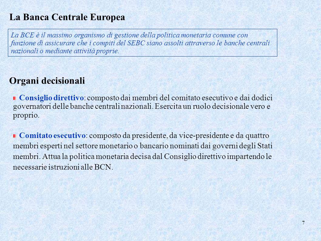 La Banca Centrale Europea La BCE è il massimo organismo di gestione della politica monetaria comune con funzione di assicurare che i compiti del SEBC