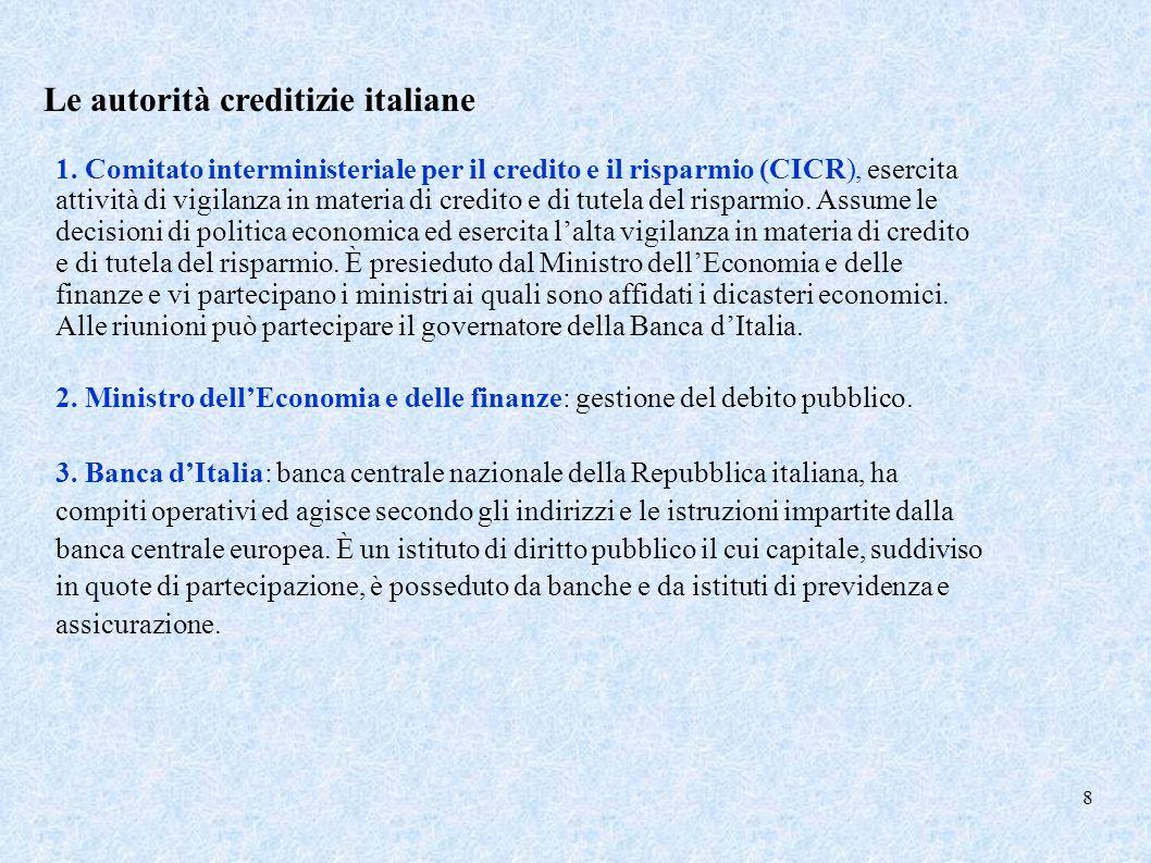 9 Il sistema bancario SEBC si prefigge la stabilità dei prezzi BCE conduce la politica monetaria Banca dItalia Persegue gli obiettivi assegnati al SEBC e agisce secondo gli indirizzi e le istruzioni della BCE Banche Governatore della Banca dItalia partecipa al Consiglio direttivo del SEBC e alle sedute del CICR CICR ha lalta vigilanza in materia di credito e di tutela del risparmio Ministero dellEconomia e delle finanze presiede il CICR