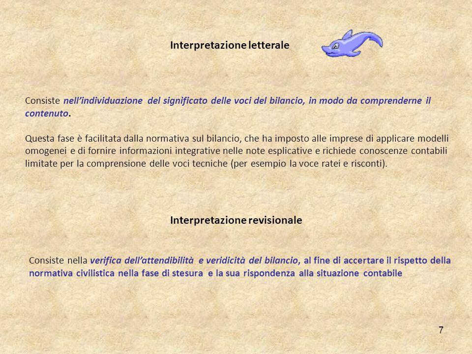 7 Interpretazione letterale Consiste nellindividuazione del significato delle voci del bilancio, in modo da comprenderne il contenuto. Questa fase è f