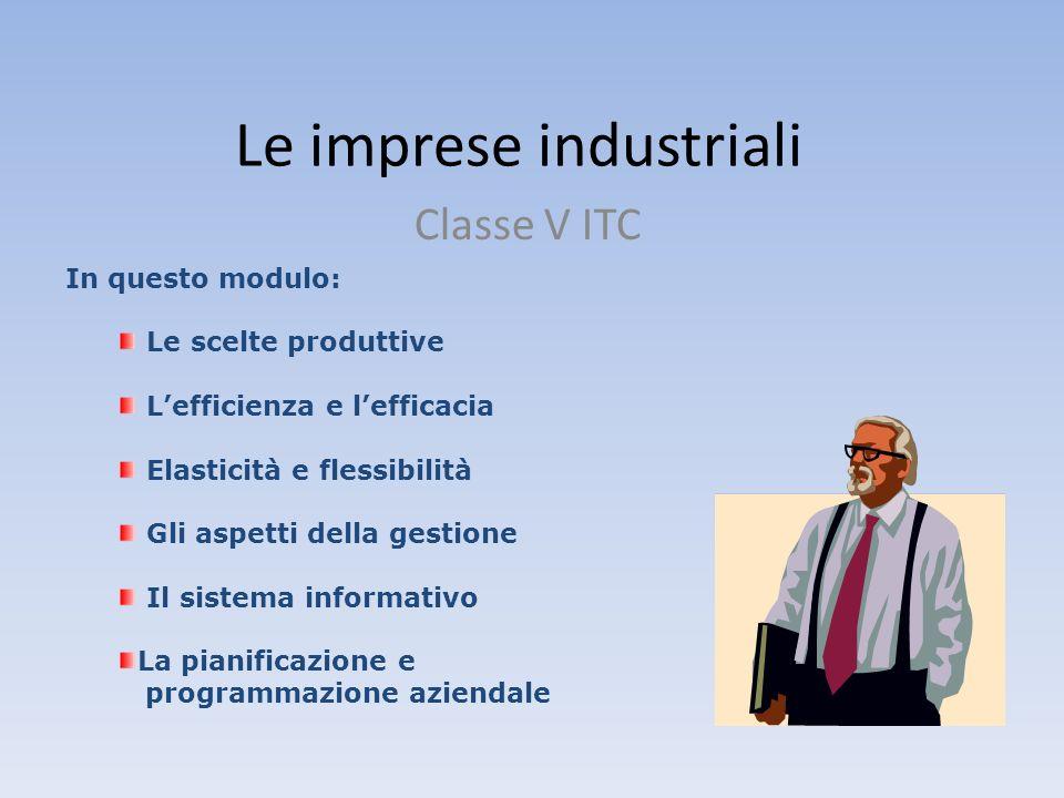 Le imprese industriali Classe V ITC In questo modulo: Le scelte produttive Lefficienza e lefficacia Elasticità e flessibilità Gli aspetti della gestio