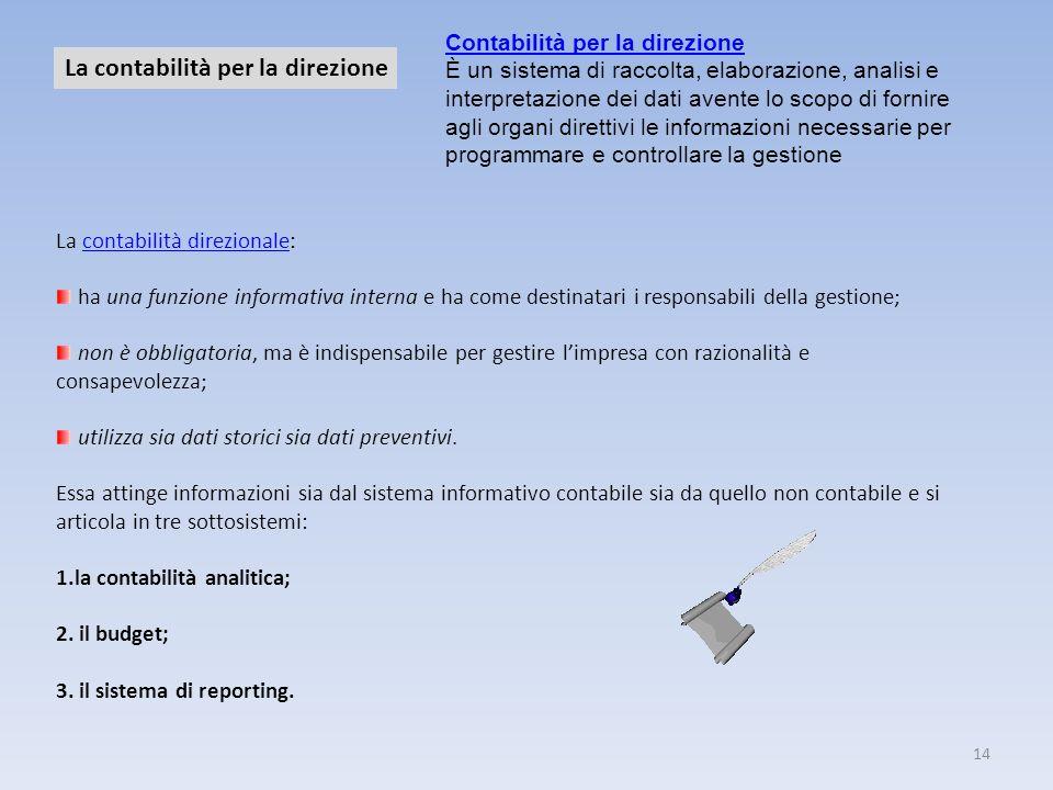 14 La contabilità per la direzione La contabilità direzionale:contabilità direzionale ha una funzione informativa interna e ha come destinatari i resp