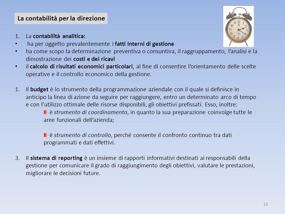 15 La contabilità per la direzione 1.La contabilità analitica: ha per oggetto prevalentemente i fatti interni di gestione ha come scopo la determinazi