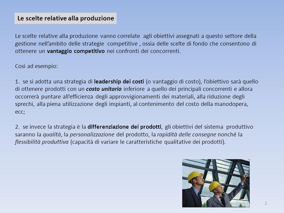 2 Le scelte relative alla produzione Le scelte relative alla produzione vanno correlate agli obiettivi assegnati a questo settore della gestione nella