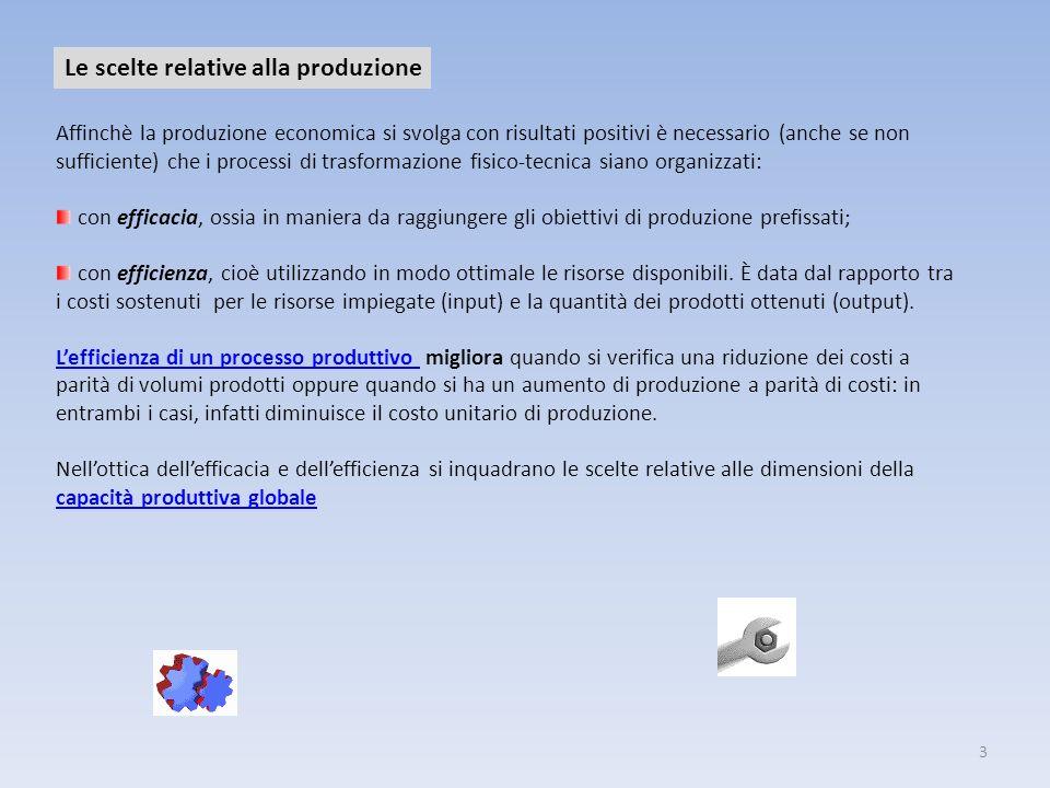 3 Le scelte relative alla produzione Affinchè la produzione economica si svolga con risultati positivi è necessario (anche se non sufficiente) che i p