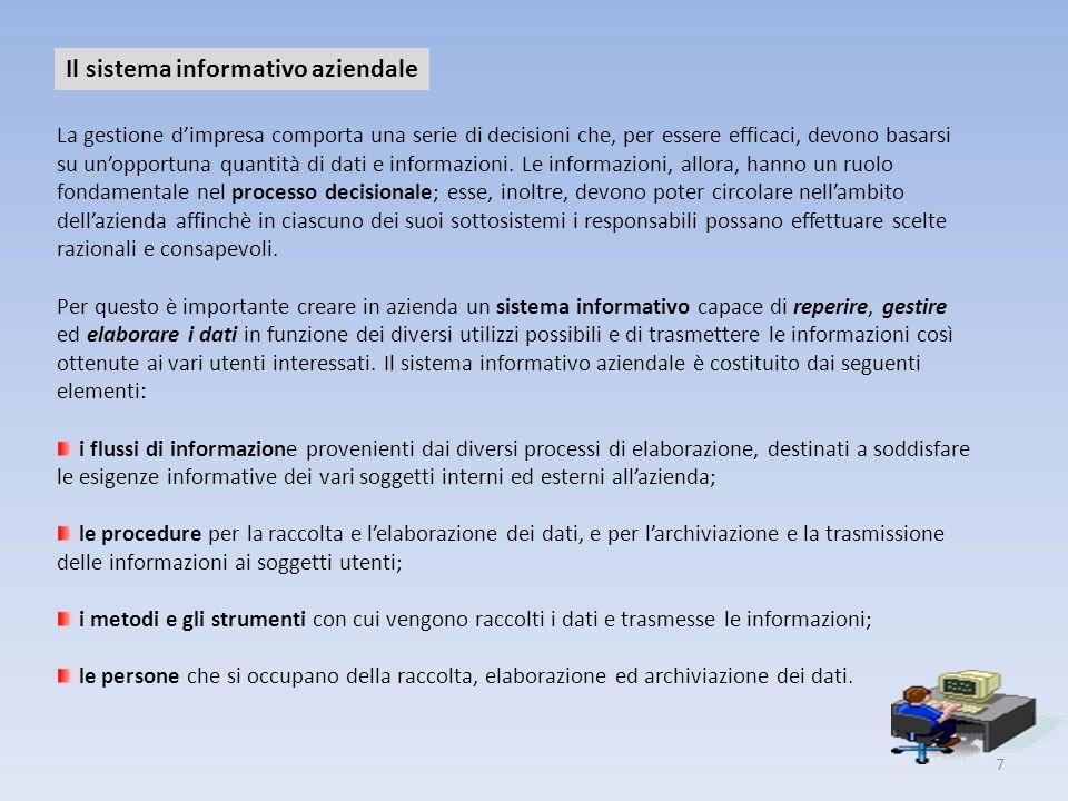 7 Il sistema informativo aziendale La gestione dimpresa comporta una serie di decisioni che, per essere efficaci, devono basarsi su unopportuna quanti