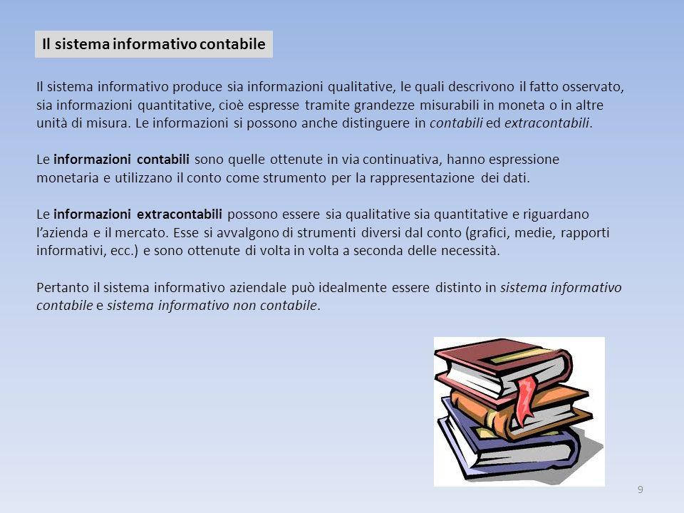 9 Il sistema informativo contabile Il sistema informativo produce sia informazioni qualitative, le quali descrivono il fatto osservato, sia informazio