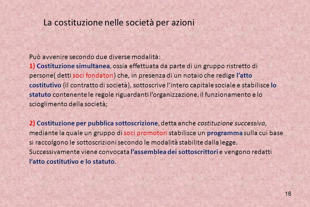 15 La costituzione delle società di capitali Si costituiscono solo con atto notarile, in quanto la legge impone che il loro atto costitutivo abbia la natura di atto pubblico.