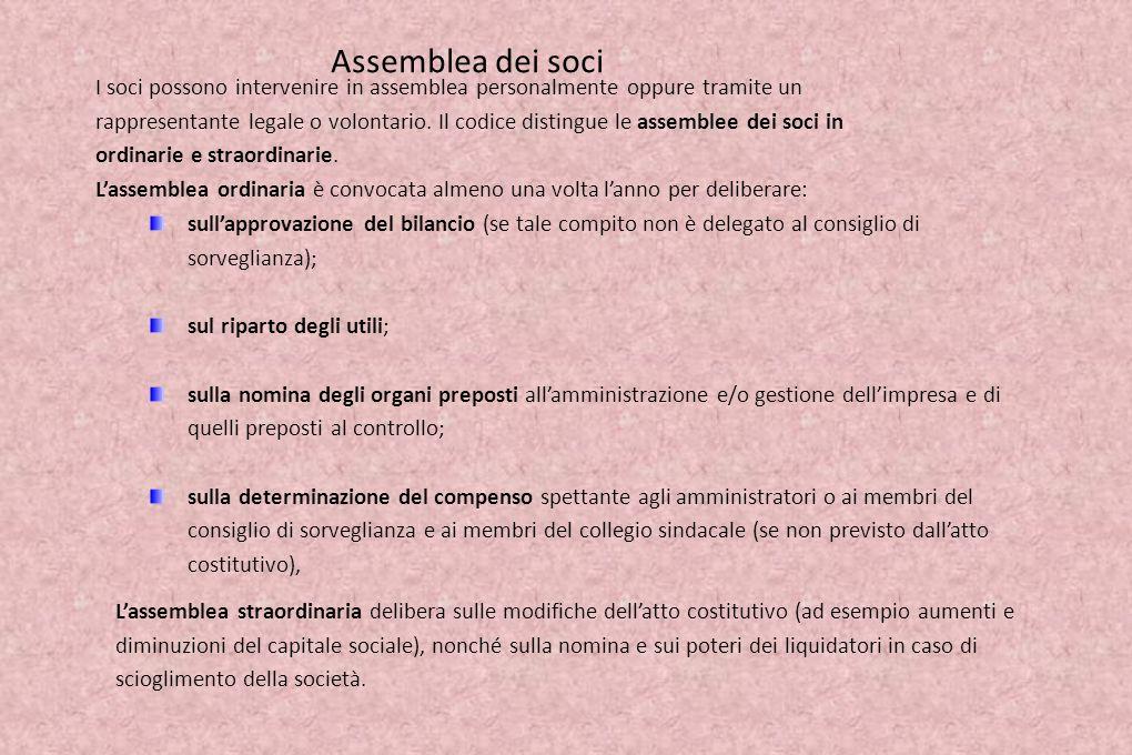 Assemblea dei soci Lassemblea dei soci (detti azionisti in caso di spa o sapa), rappresenta lorgano volitivo.