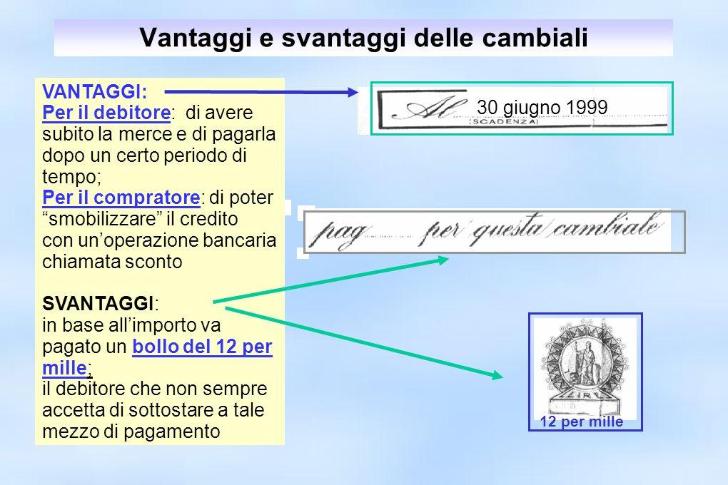 Vantaggi e svantaggi delle cambiali 12 per mille 30 giugno 1999 VANTAGGI: Per il debitore: di avere subito la merce e di pagarla dopo un certo periodo
