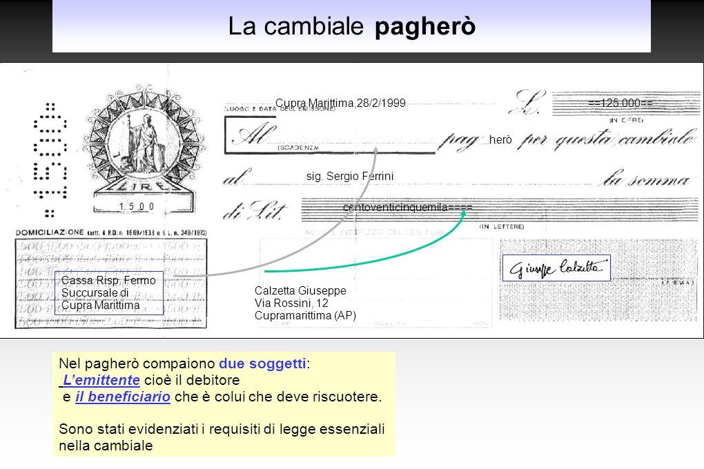 La cambiale pagherò Cupra Marittima,28/2/1999==125.000== herò sig. Sergio Ferrini centoventicinquemila==== Calzetta Giuseppe Via Rossini, 12 Cupramari