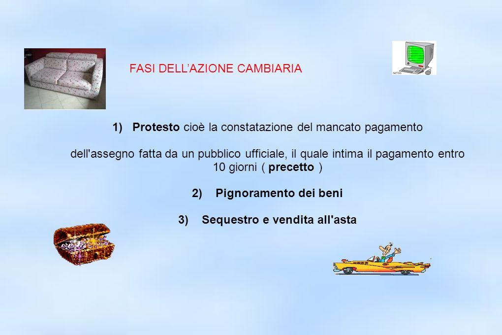1) Protesto cioè la constatazione del mancato pagamento dell'assegno fatta da un pubblico ufficiale, il quale intima il pagamento entro 10 giorni ( pr