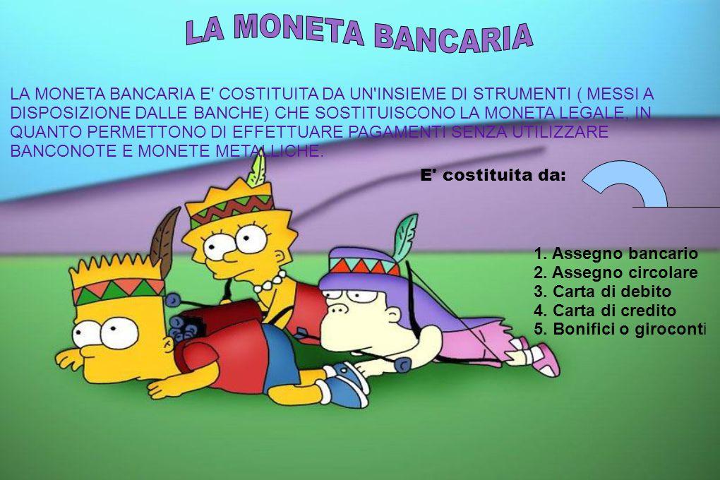 LA MONETA BANCARIA E' COSTITUITA DA UN'INSIEME DI STRUMENTI ( MESSI A DISPOSIZIONE DALLE BANCHE) CHE SOSTITUISCONO LA MONETA LEGALE, IN QUANTO PERMETT