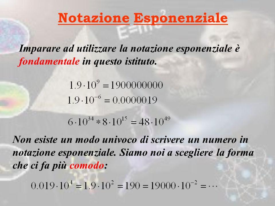 Notazione Esponenziale Imparare ad utilizzare la notazione esponenziale è fondamentale in questo istituto.