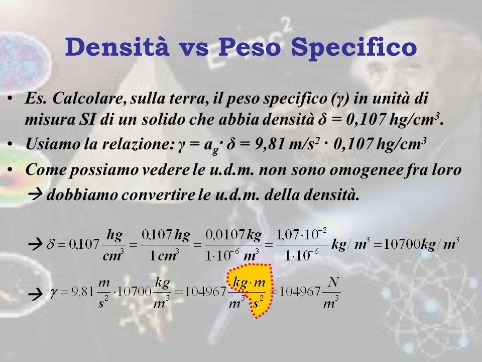 Densità vs Peso Specifico Il peso specifico (γ) è una grandezza estensiva che si ricava da peso e volume: γ = F p /V. Dimensionalmente è dunque una fo