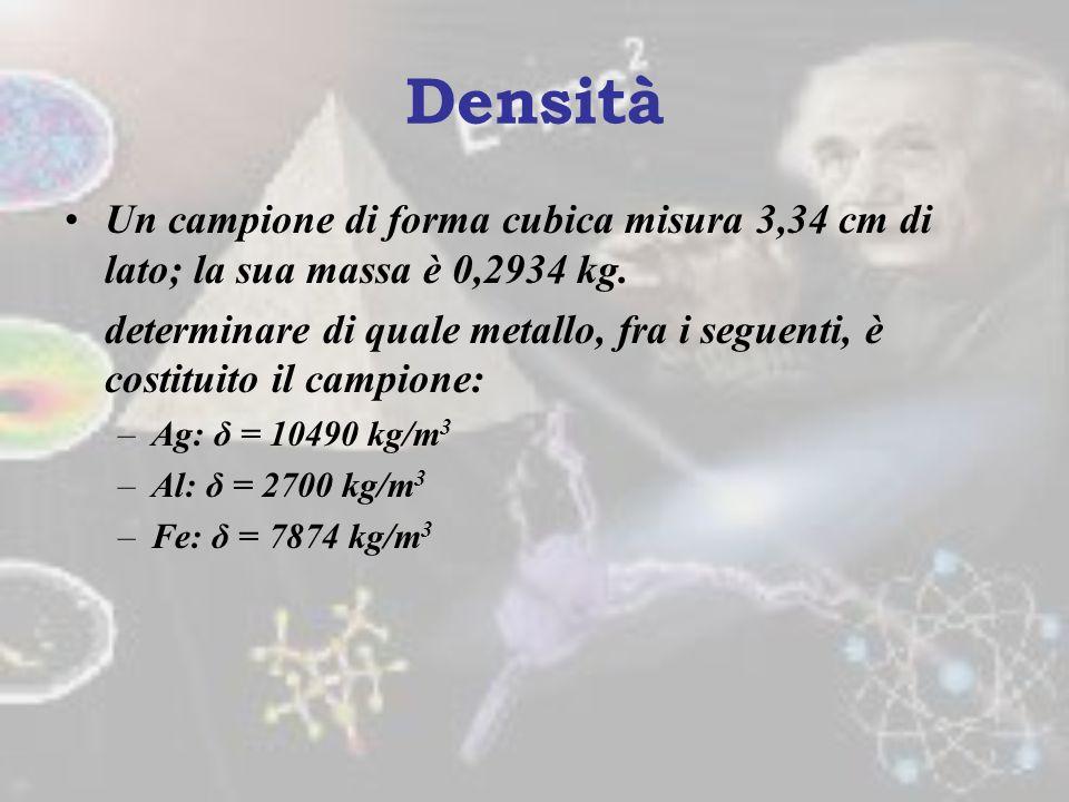 Densità vs Peso Specifico Es. Calcolare, sulla terra, il peso specifico (γ) in unità di misura SI di un solido che abbia densità δ = 0,107 hg/cm 3. Us