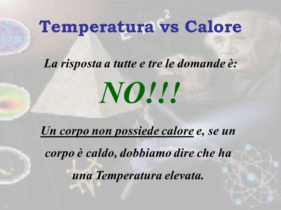 1.Temperatura e calore sono la stessa cosa? 2.Possiamo dire che un corpo che ha più calore lo cede al corpo che ne ha meno??? 3.Un corpo caldo ha molt