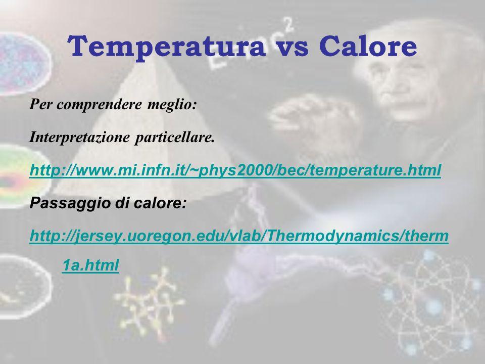 Dunque il calore è una forma di energia e come tale si misura nel SI in joule (J) Altra unità accettata dal SI e ancora molto utilizzata è la caloria